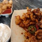 very delicious spicy pork and fried praws as the appetizers