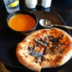 Funghi pizza with tomato basil soup