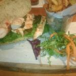 Kung po chicken sandwich and hand cut chips