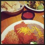 Rice, Beans, Burrito, chips, Salsa, and taco Salad! Delicious!! Best salsa in town!!!