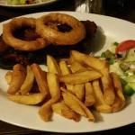 My 1kg/32oz steak with onion rings, chunky chips and salad. £29.95. Cooked medium-well