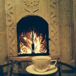 Fireplace in the Goldfinch Nest (Suite#106) when it was snowing outside