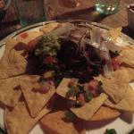 Yummy vegan chili nachos with onion