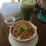 Chaya and piña juice! Delicious breakfast everyday