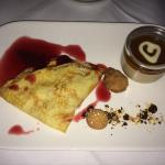 Pancake with sliced plum and Toffee Cream