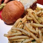 Burger with thin cut garlic fries