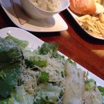 Caesar salad with chive mashed potatoes