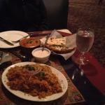 Chicken tiki Marsala and chicken biryani with garlic naan bread