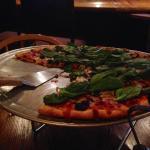 Bacon, mushroom, spinach pizza.