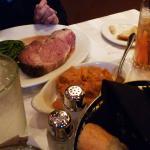 Thanksgiving feast:  prime rib, turkey, and ham