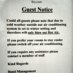 Notice about no air conditioning.