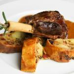 Lamb leg with potato strudel