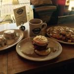 Maple Tap Coffee, Iced Cinnamon Pecan biscuits, Sticky Maple with chicken, bacon & maple syrup,