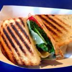 Fresh turkey and roasted red peppers on a grill panini!