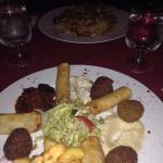 Antipasto siriano + riso e carne shawarma
