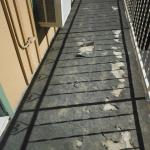 DISGUSTING WALKWAY OUTSIDE HOTEL - bugs crawl on it, very old, narrow (always hit suitcases on A