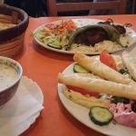 youghurt  soup,  hummus platter and kebabs