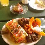 Breadfruit lasagna with delicious sides - poi, cucumber salad, lentils, pawpaw, aubergines