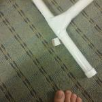 Bandage found stuck to ironing board.