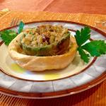 Stuffed artichoke hearts in baked bread roll, made by beginner cook Kristinin November 2014