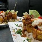 Tostones Rellenos De Camarones,Salmorejo y Ceviche Mahi Mahi