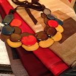 Tagua necklace on silk stoles