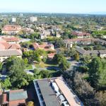 bird's eye view of Stanford