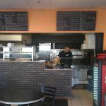 Inside the pizza place