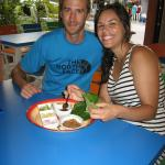 Canadian couple with traditional Thai Appetizer ; Miang-kham