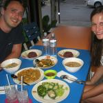 German young couple with 'Surprised Thai Dinner'