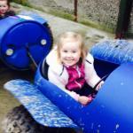 Hannah on the blue barrel ride around the farm ��