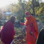 Early morning in the orchard with Swami Sita