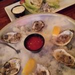 Yummy dinner. Sweet small oysters.