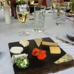 The wine and cheese platter with homemade crackers