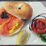 Salmon & scrambled egg on a toasted bagel