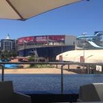 View from breakfast table, overlooking water / wave park