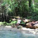 A relaxing place to rest by the river bank — at The Blue Hole Falls  Ocho Rios.
