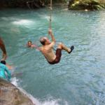 Pure fun!, swinging on a rope is enjoyable at any age! — at The Blue Hole Falls Ocho  R