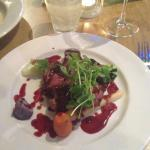 Lamb rump on mashed swede with a rosemary and red wine sauce