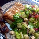Spanakopita&Salad w/1of2 Pork Souvlaki Skewers TakeOut Menu