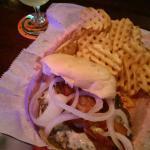Bacon & Bleu Cheeseburger with Green Tea