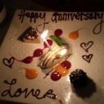 D J Bistro with a special dessert for our anniversary.