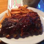 Half slab with steak fries. Complimentary peanuts.