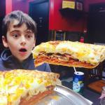 My son in pizza heaven.