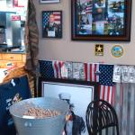 Sons medals and picture on wall...purple heart etc