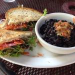 The Vegout sandwich with black beans and rice