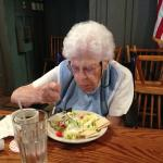 Mom enjoying a crisp salad