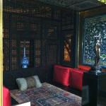 Sneak peek of handwoven textiles and handcarved screens in Leighton House Museum.