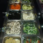 Buffet légumes et accompagnements pour la cuisson au Wok
