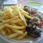 the best poulet boucane (smoked chicken) we had in martinique - with piment confit and fries